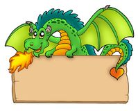 Giant green dragon holding board. Color illustration Royalty Free Stock Photography