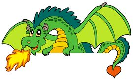 Giant green lurking dragon. Illustration Stock Images