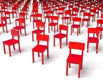 Giant group of red chairs Stock Images