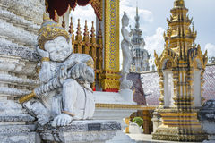 Giant Guard Statue at The Gate of Temple. Giant Guard Statue at The Gate of Wat Phra That Su Thon Mongkhon Khiri in Phrae, Thailand Stock Photos