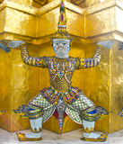 Giant guardian at Emerald Buddha Temple Stock Photography