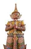 Giant guardian at Wat Pra Keaw isolated. Giant guardian isolated on white background Royalty Free Stock Photography