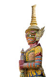 Giant guardian at Wat Pra Keaw isolated. Giant guardian isolated on white background Royalty Free Stock Images