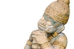 Giant guardian on white background. Buddhist stone statue. Giant guardian on white background royalty free stock image
