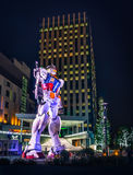 Giant Gundam in Odaiba. Odaiba, Japan - March 02, 2015:  The 18m tall 'Gundam' replica statue that stands outside DiverCity Tokyo Plaza Stock Photos