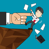 A giant hand of boss points a finger down at employee. Nearly high cliffs fall. Funny vector Stock Photo
