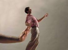 giant hand man pushing Στοκ εικόνες με δικαίωμα ελεύθερης χρήσης