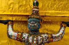 The Giant hand to lift the base of the pagoda at the Emerald Buddha Temple Royalty Free Stock Image