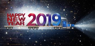 Giant Happy New Year and 2019 on a Semi Truck royalty free stock photo