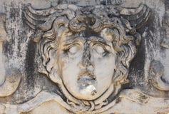 Giant head of the Gorgon Medusa. At the Apollo temple  at Didyma,  Turkey Royalty Free Stock Photo