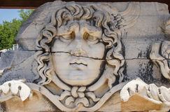 Giant head of the Gorgon Medusa. At the Apollo temple  at Didyma,  Turkey Stock Image