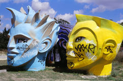Giant heads (Fifa World Cup 1998 in France). Royalty Free Stock Images