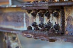 Giant Hexagonal bolts on iron bridge Stock Image