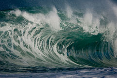 Giant hollow wave. Giant wave breaking on the north shore of oahu Stock Photo