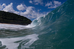 Giant hollow wave. Giant wave breaking on the north shore of oahu stock photography