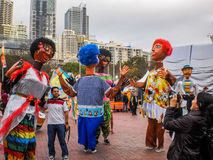 Giant human puppet join the parade Royalty Free Stock Photography