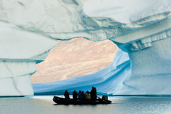 Giant Iceberg with Inflatable Boat Scale - Greenland Royalty Free Stock Image
