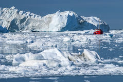 Giant Icebergs of Disko Bay. Near Illulisat, Greenland, a popular cruise destination royalty free stock images