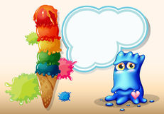 A giant icecream beside the blue monster with an empty callout Royalty Free Stock Images