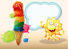 A giant icecream beside the happy yellow monster Stock Photo