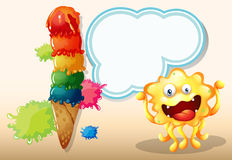 A giant icecream beside the yellow monster with an empty callout Stock Photography