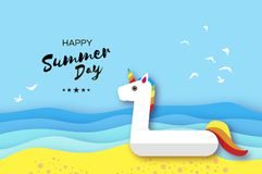 Giant inflatable Fantasy Unisorn in paper cut style. Origami Pool float toy on the sunny beach with sand and crystal Stock Image