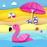Giant inflatable pink flamingo in paper cut style. Beach Parasol - umbrella. Origami Pool float toy on the sunny beach Royalty Free Stock Image