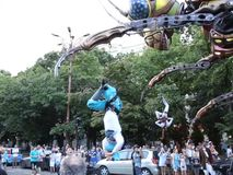 Giant insect parade. At international theater street festival at Bucharest, Romania. Microcosmos, France - Sarlconcept stock video footage