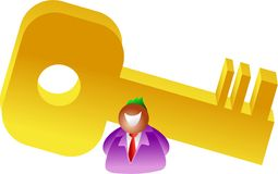 Giant key. Businessman with giant golden key - icon people series Stock Photography