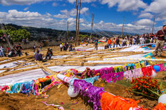Giant kites on the ground, All Saints' Day, Guatemala. Santiago Sacatepequez, Guatemala - November 1, 2010: Reverse side of giant kites on the ground among Stock Image
