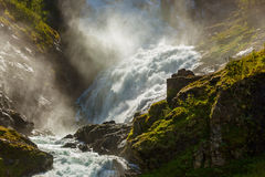 Giant Kjosfossen waterfall in Flam - Norway Royalty Free Stock Photography