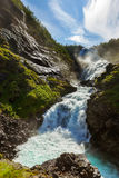Giant Kjosfossen waterfall in Flam - Norway Royalty Free Stock Images