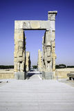Giant lamassu statues guarding Gate of All Nations in ancient Persepolis, capital of Achaemenid Empire in Shiraz, Iran. Stock Photography