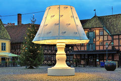 The Giant Lamp on the Lilla Torg Square of Malmo, Sweden Royalty Free Stock Photography
