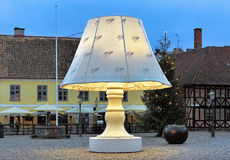 The Giant Lamp on the Lilla Torg Square of Malmo, Sweden Royalty Free Stock Photos