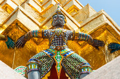 Giant  Lifts  The Golden Pagoda At Wat Pra Kaew. Royalty Free Stock Images