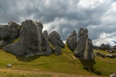 Giant limestone boulders in the mountains, Castle Hill, New Zealand royalty free stock image