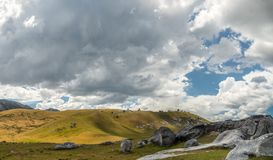 Giant limestone boulders in the mountains, Castle Hill, New Zealand royalty free stock photo