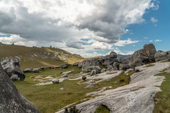 Giant limestone boulders in the mountains, Castle Hill, New Zealand royalty free stock photography