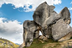 Giant limestone boulders in the mountains, Castle Hill, New Zealand stock photo