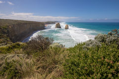Giant limestone stacks, Gog and Magog. Gibson Steps, Great Ocean Road Stock Photos