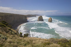 Giant limestone stacks, Gog and Magog. Gibson Steps, Great Ocean Road Royalty Free Stock Images