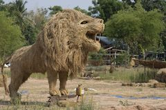 Giant Lion Straw Puppet. royalty free stock photos