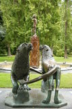 Giant Lions & Peter Pan Statue Stock Photo