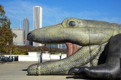 Giant Lizard Swallowed Downtown Chicago Royalty Free Stock Photo
