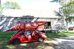 Giant lobster roof red car maine maritime museum stock photos