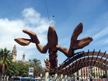 Giant lobster statue Barcelona Stock Images