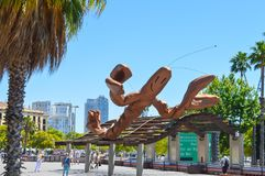Giant Lobster Statue in the waterfront in Barcelona, Spain on June 22, 2016. BARCELONA, SPAIN - JUNE 22: Giant Lobster Statue in the waterfront in Barcelona Stock Photography