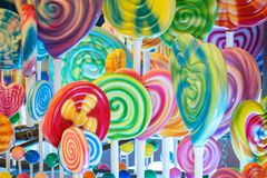 Giant Lolly pop and candies for kids royalty free stock image