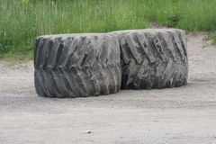 Giant Machinery Rubber Tires Stock Photography
